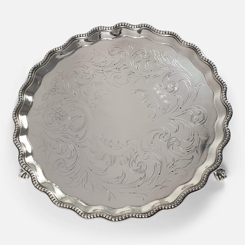 the salver tilted at a slight angle