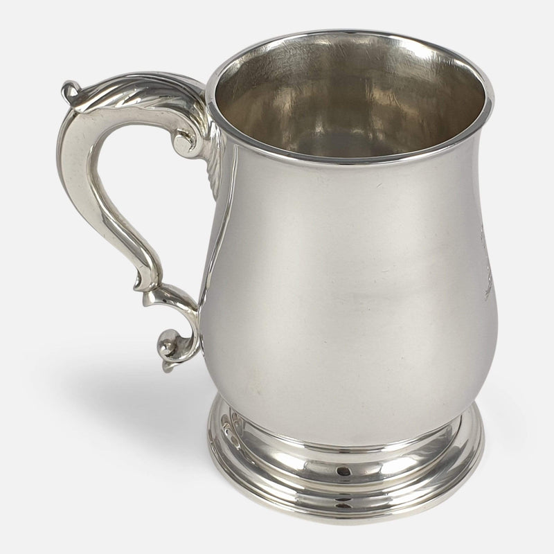 George III Sterling Silver Mug, John Robinson II, London, 1766 viewed from the left