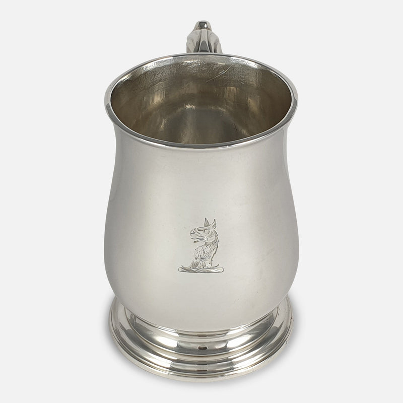 George III Sterling Silver Mug, John Robinson II, London, 1766 viewed from the front