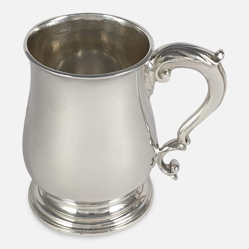 George III Sterling Silver Mug, John Robinson II, London, 1766 viewed from the right