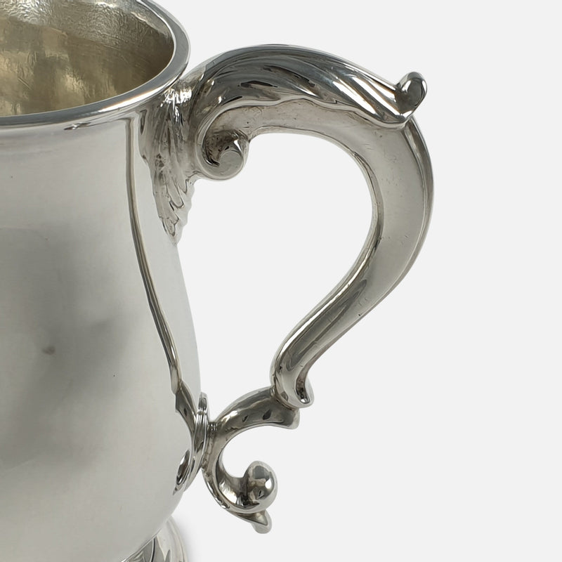 George III Sterling Silver Mug, John Robinson II, London, 1766 zoomed in on a section