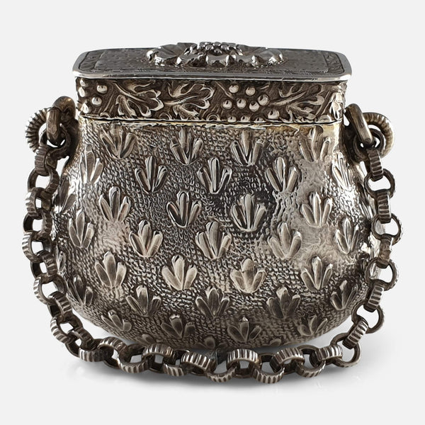 George III Sterling Silver Novelty Bag Vinaigrette, Circa 1815