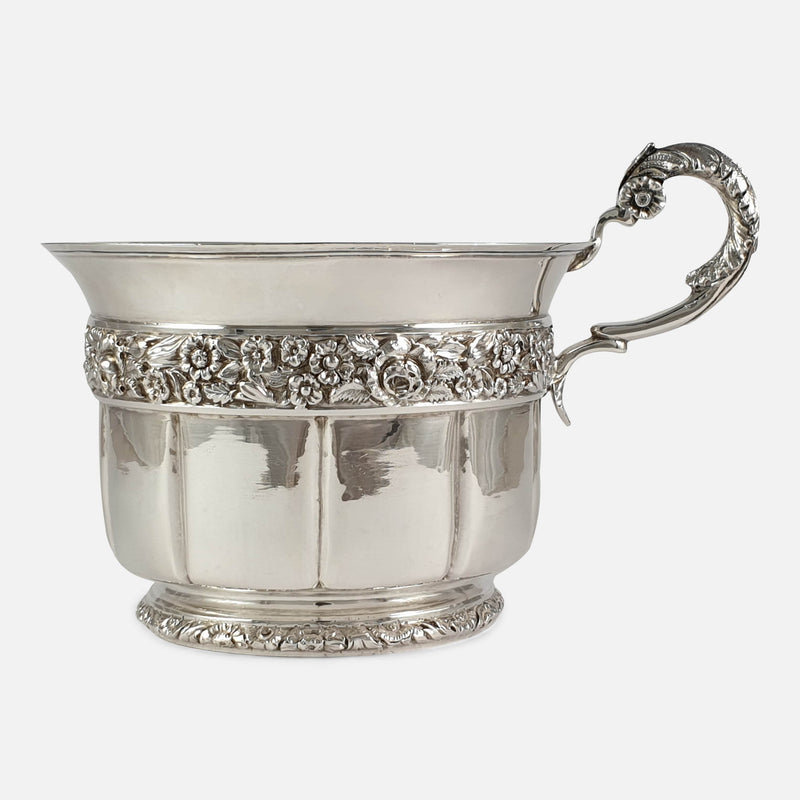 George IV Sterling Silver Gilt Christening Cup, London, 1828 viewed from the right