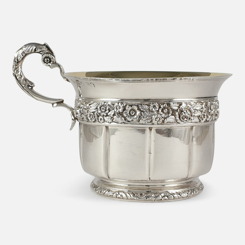 George IV Sterling Silver Gilt Christening Cup, London, 1828 viewed from the left side