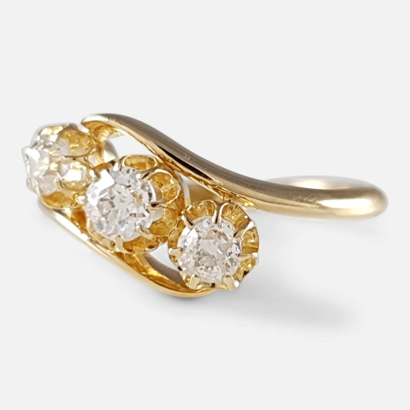 George V 18ct Gold 0.48ct Diamond Trilogy Crossover Ring - Argentum Antiques & Collectables