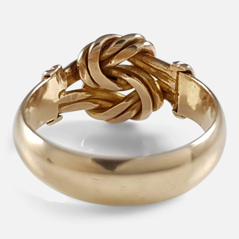 George V 18ct Yellow Gold Lovers Knot Ring - Argentum Antiques & Collectables