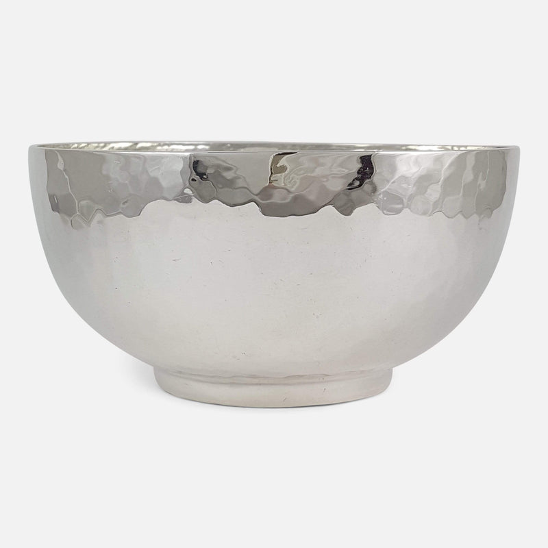 George V Sterling Silver Hammered Arts & Crafts Style Bowl - Argentum Antiques & Collectables