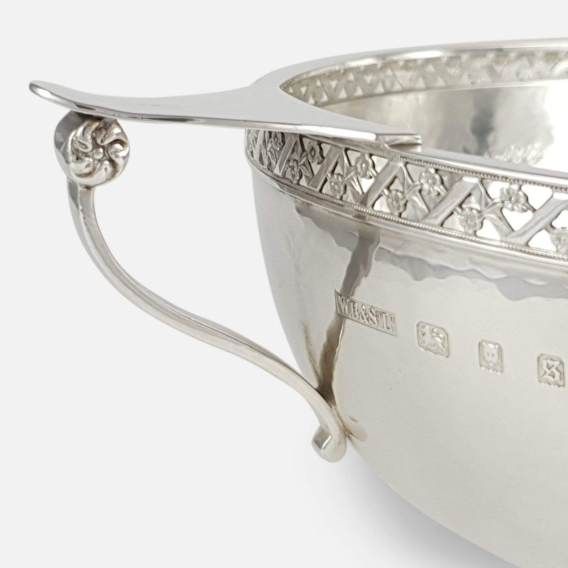 George V Silver Hammered Arts & Crafts Style Two Handled Bowl - Argentum Antiques & Collectables