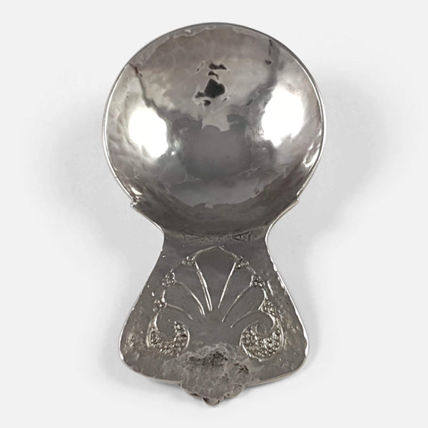 George V Silver Hammered Caddy Spoon Bernard Instone 1929 - Argentum Antiques & Collectables