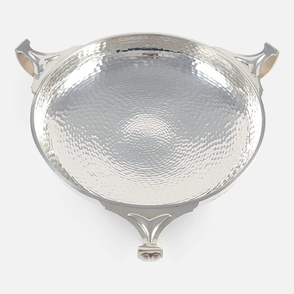 George V Silver Planished Three Handled Bowl 1931 viewed from above