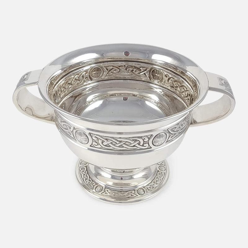 George V Sterling Silver Celtic Revival Bowl with Handles - Argentum Antiques & Collectables