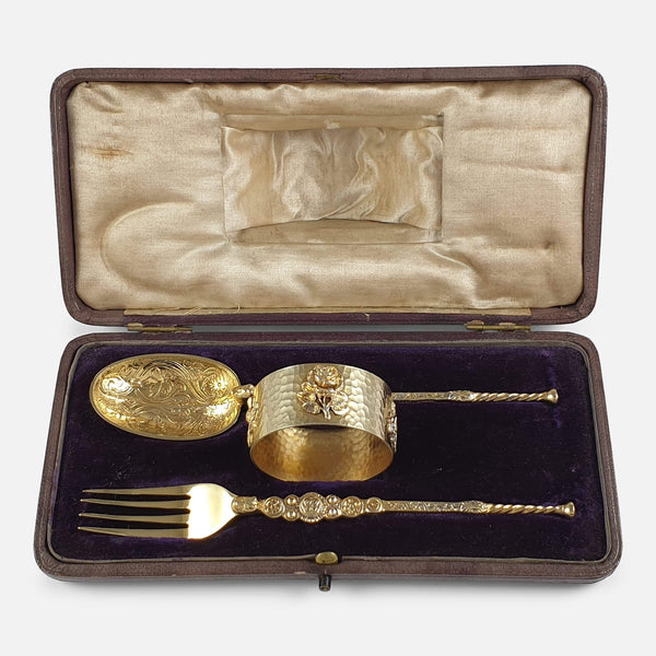 Sterling Silver-Gilt 3 Piece Christening Set, London 1910 viewed in the case