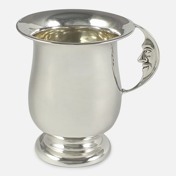 George V Sterling Silver Man in the Moon Mug, Birmingham, 1929 viewed from the right