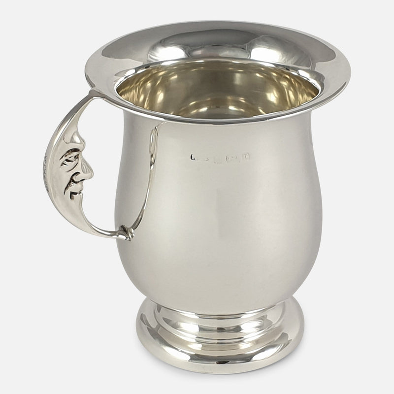 George V Sterling Silver Man in the Moon Mug, Birmingham, 1929 viewed from the left side