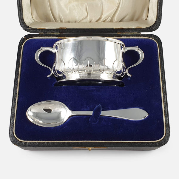 Sterling Silver Two-Handled Porringer and Spoon Christening Set, 1922 viewed in the case