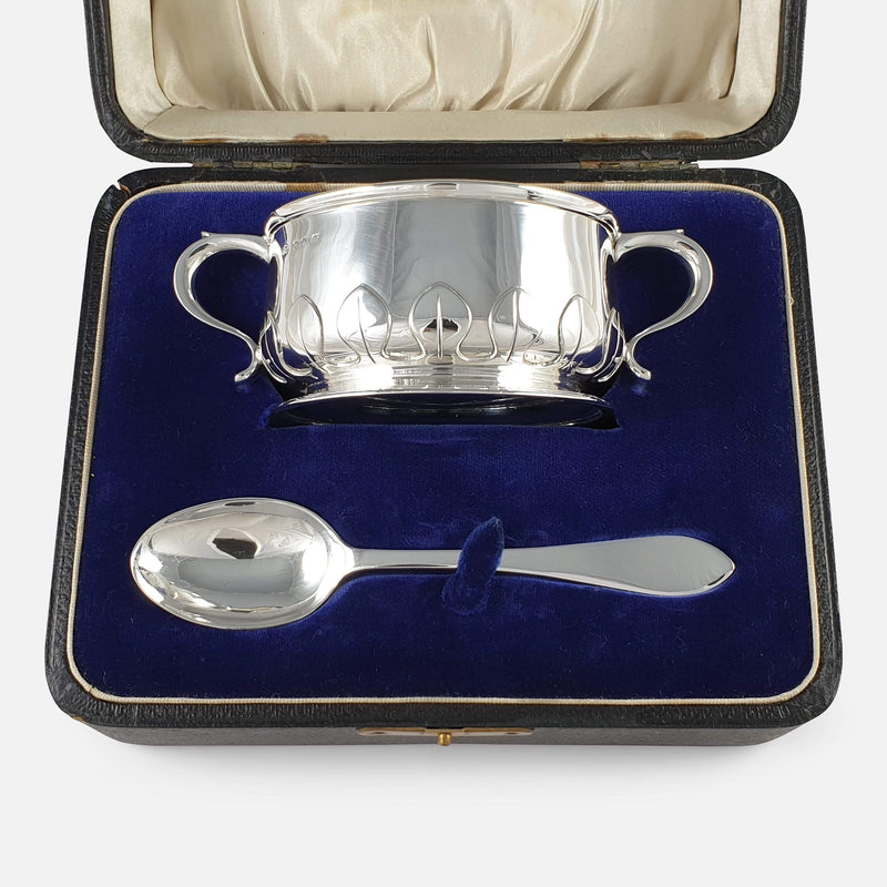 Sterling Silver Two-Handled Porringer and Spoon Christening Set, 1922