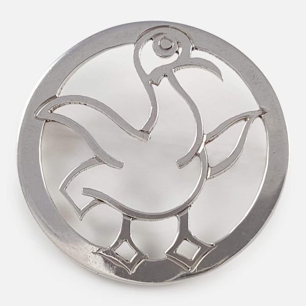 the Art Deco Silver Duck Brooch viewed from the front