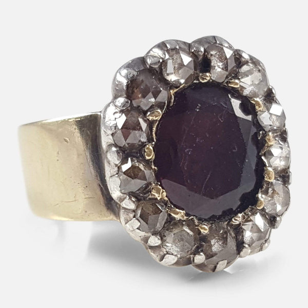 Georgian Gold, Silver, Garnet, & Diamond Cluster Ring, Circa 1800 - Argentum Antiques & Collectables
