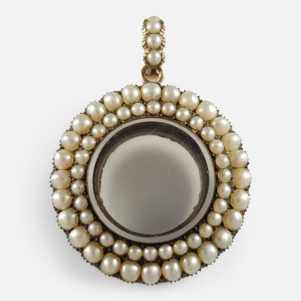Georgian 9ct Gold and Split Pearl Glazed Memorial Pendant Locket - Argentum Antiques & Collectables