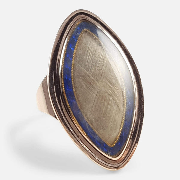 Georgian 9ct Gold Glazed Hair Panel & Blue Enamel Memorial Ring - Argentum Antiques & Collectables