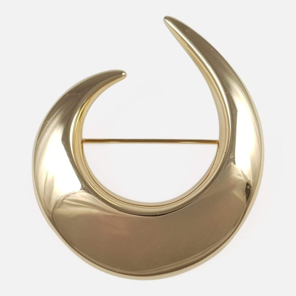 Danish 14ct Yellow Gold Crescent Brooch Hans Hansen - Argentum Antiques & Collectables