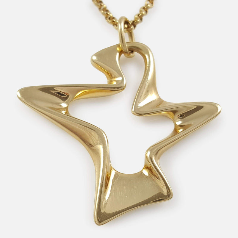 Georg Jensen 18ct Gold Splash Pendant and Chain - Argentum Antiques & Collectables