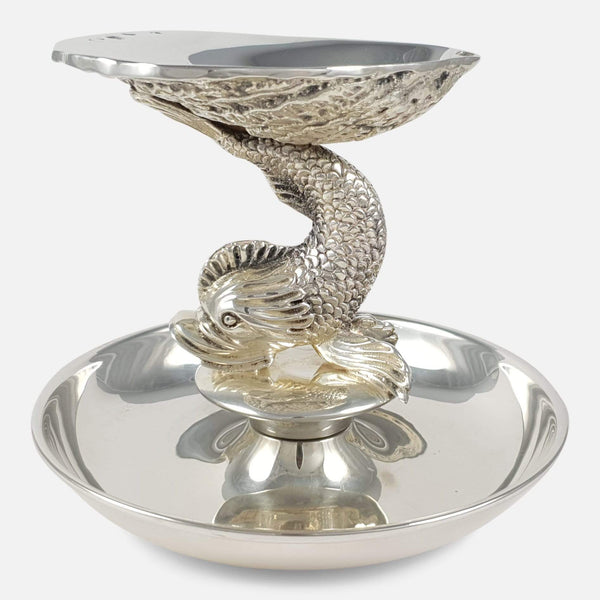 Irish Silver Dolphin & Shell Centrepiece Dish Dublin 1969 - Argentum Antiques & Collectables