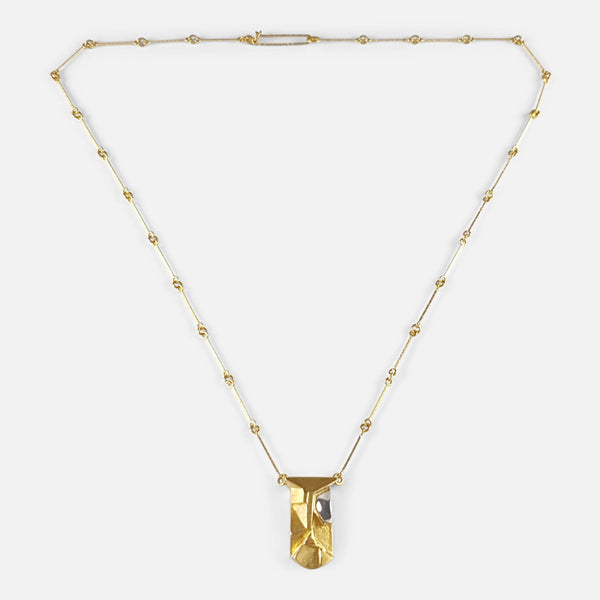 Lapponia 14ct Gold Pendant Necklace, Finland, 2007 viewed from the front