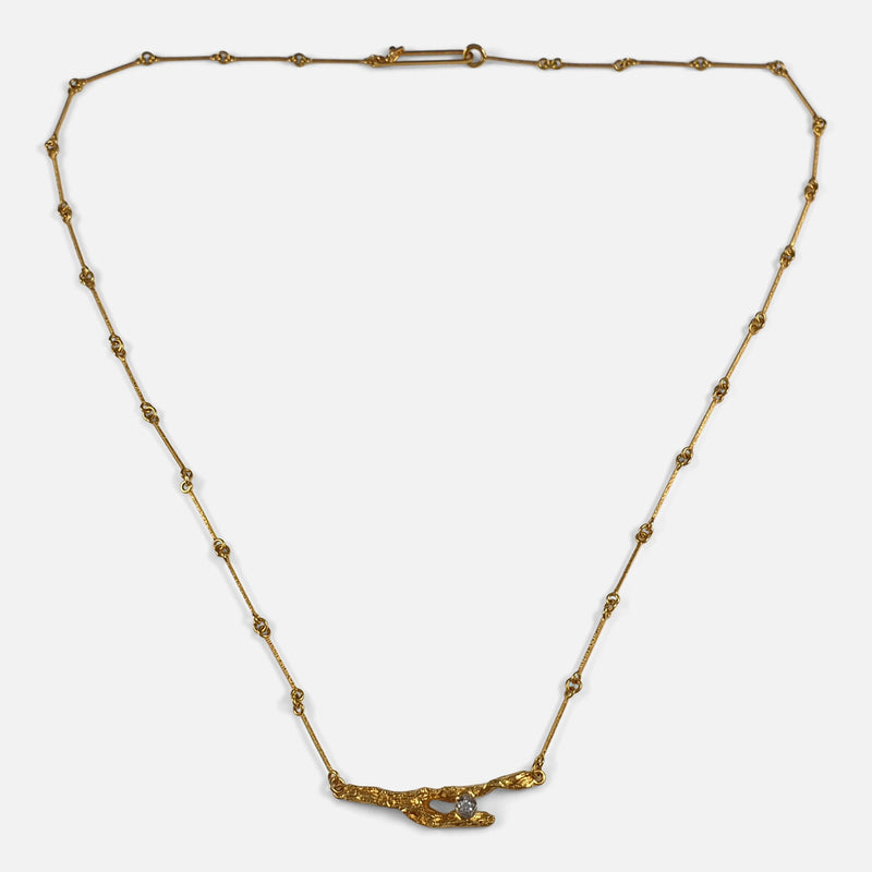 Lapponia 18ct Gold and Diamond Necklace, Björn Weckström, Finland 1996 viewed from the front