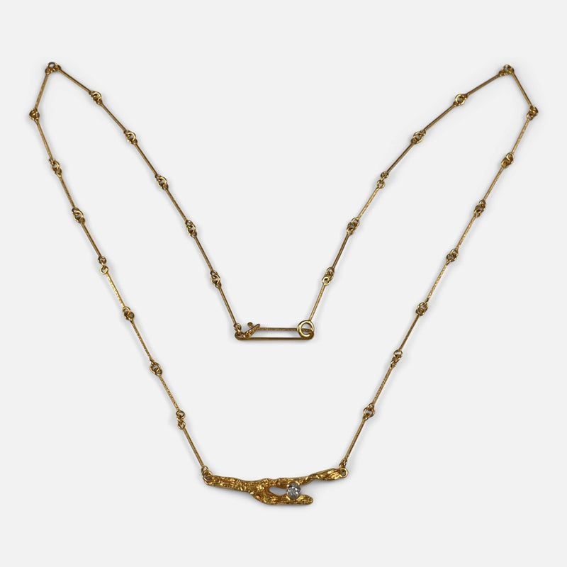 Lapponia 18ct Gold and Diamond Necklace, Björn Weckström, Finland, 1996 a view from above