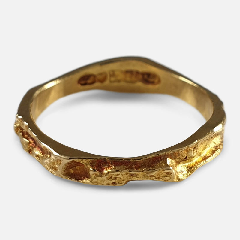 "Lapponia 18ct Yellow Gold ""Lapp gold"" Ring Band Björn Weckström 1987 viewed from above"