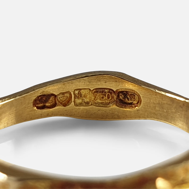 "Lapponia 18ct Yellow Gold ""Lapp gold"" Ring Band Björn Weckström 1987 hallmarks and makers marks"