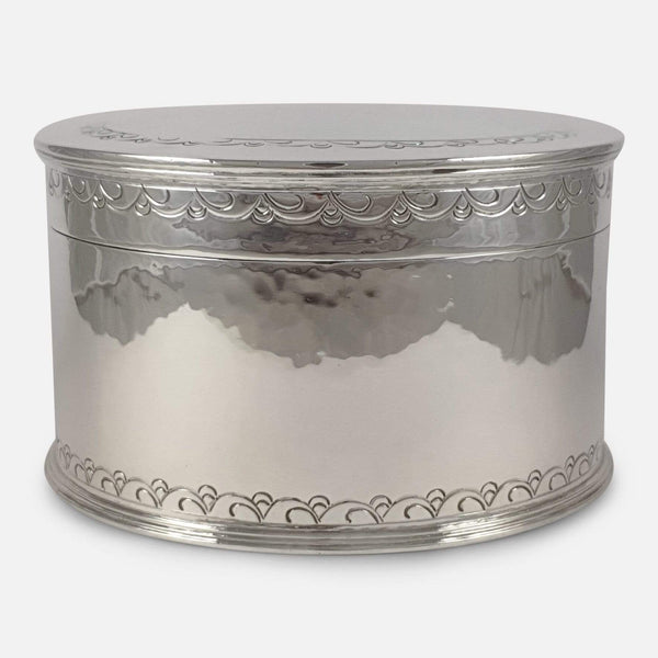 Liberty & Co Sterling Silver Hammered Biscuit Box Birmingham 1929 - Argentum Antiques & Collectables
