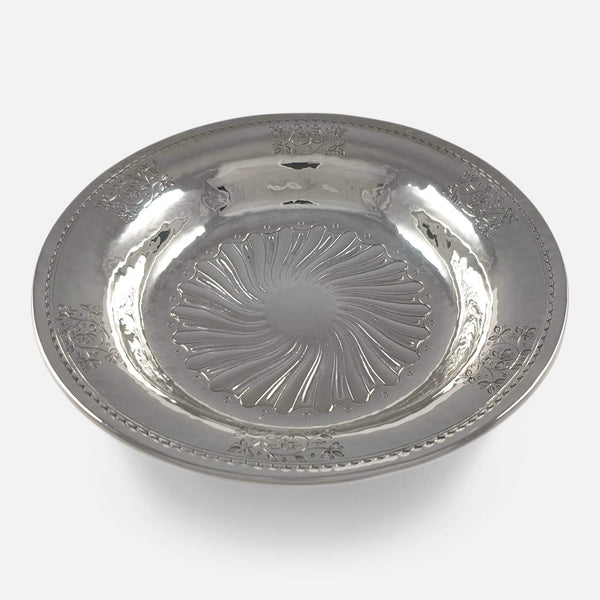 the sterling silver dish viewed from the front at a raised angle