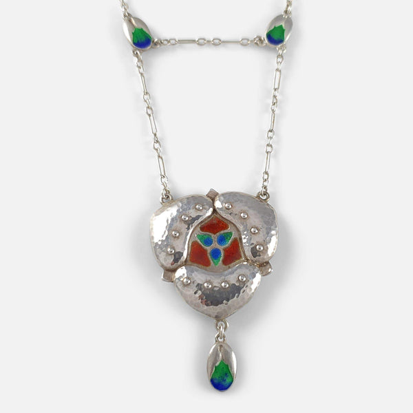 Murrle Bennett & Co Arts & Crafts Silver & Enamel Pendant Necklace - Argentum Antiques & Collectables