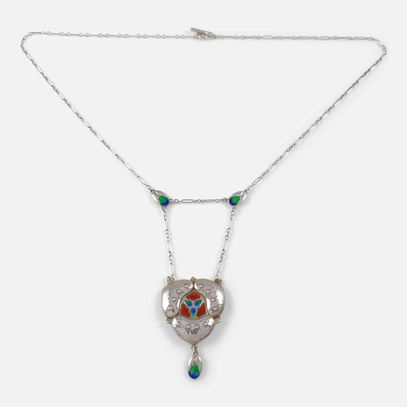 the pendant necklace viewed from the front with chain extended out