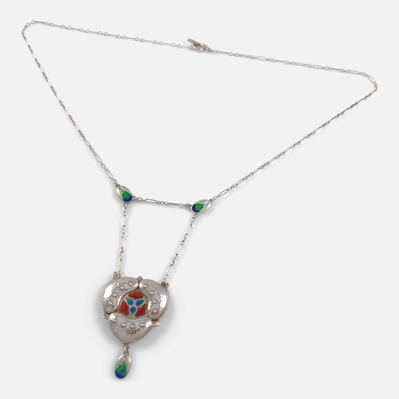 the pendant necklace viewed at an angle