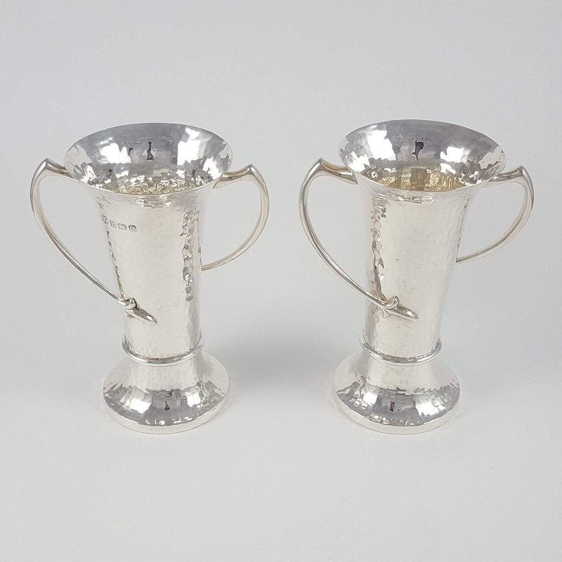 Pair of George V Sterling Silver Art Nouveau Vases - Argentum Antiques & Collectables
