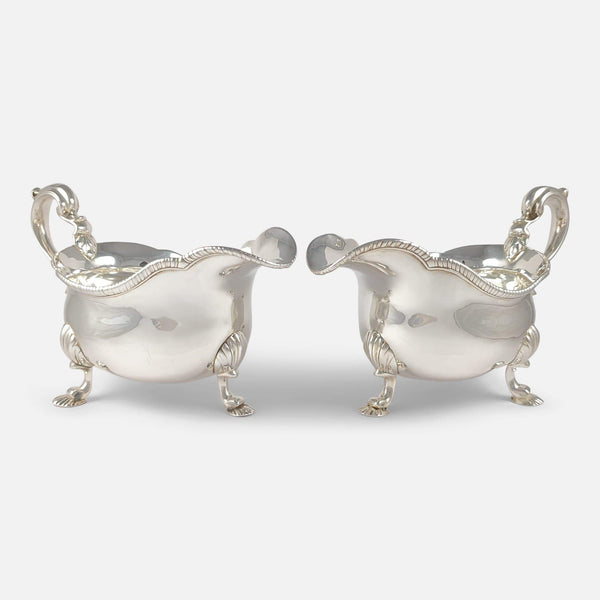 Pair of Victorian Sterling Silver Sauce Boats D & C Houle 33.4ozt - Argentum Antiques & Collectables
