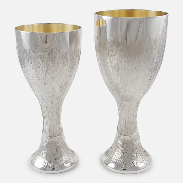 Pair of Elizabeth II Silver Court Cups Christopher Lawrence viewed from the front