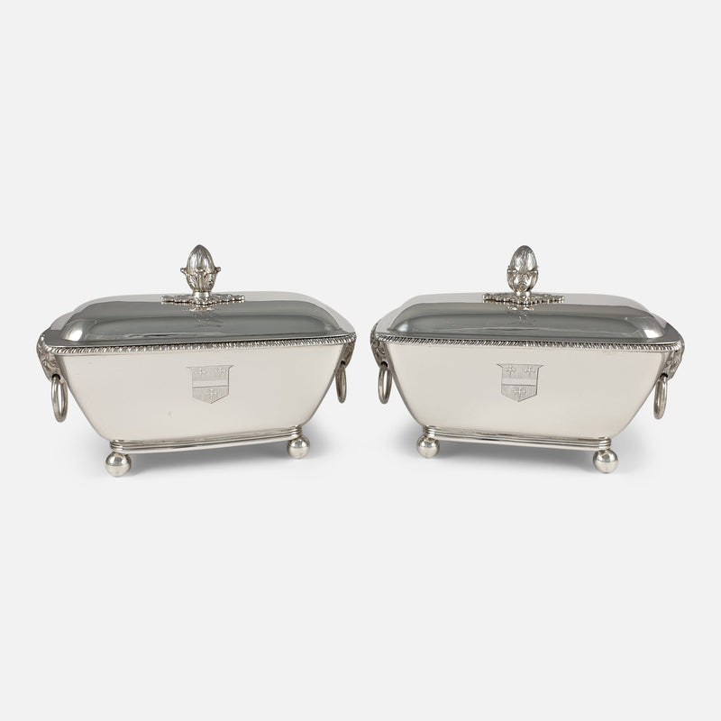 Pair of Georgian silver sauce tureens viewed from the front