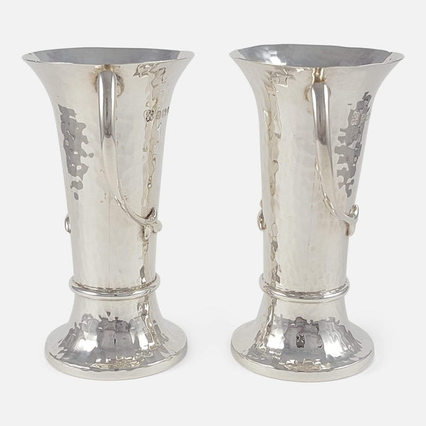 Pair of George V Sterling Silver Art Nouveau Vases viewed from the side