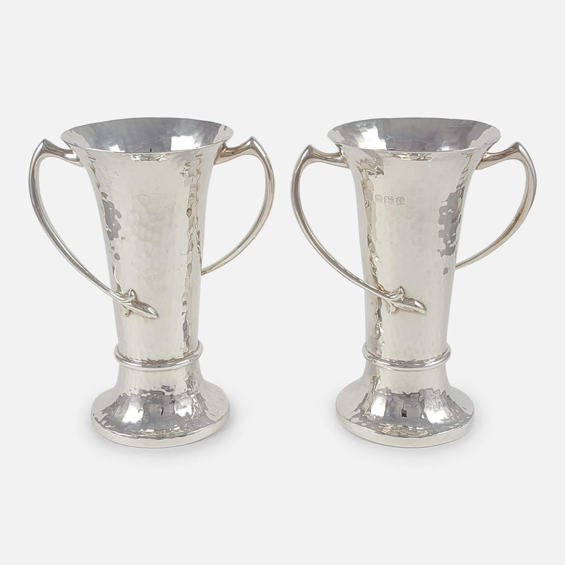 Pair of George V Sterling Silver Art Nouveau Vases viewed from the front
