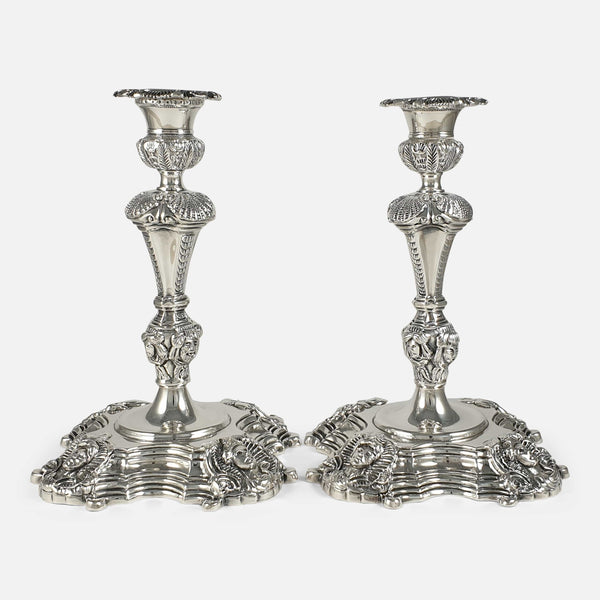 Pair of Irish Cast Sterling Silver Candlesticks, Royal Irish Silver Ltd, 1969
