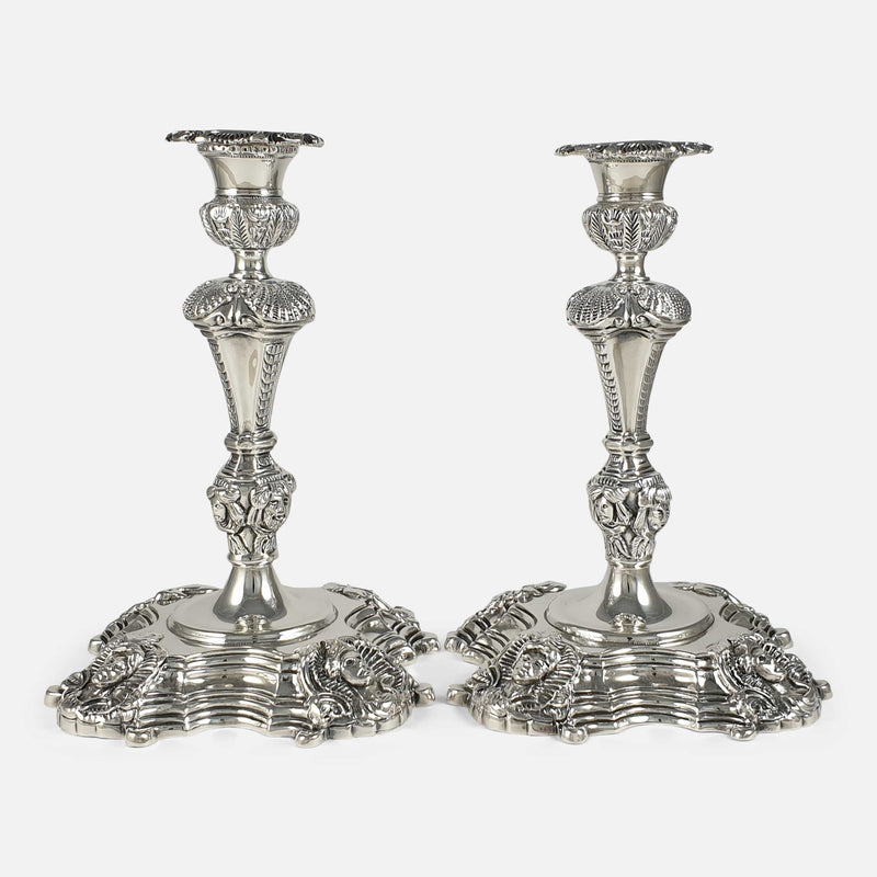 Pair of Irish Cast Sterling Silver Candlesticks, Royal Irish Silver Ltd, 1969 viewed from the front