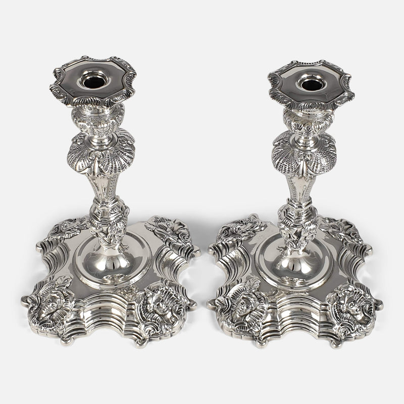 Pair of Irish Cast Sterling Silver Candlesticks, Royal Irish Silver Ltd, 1969 viewed from above