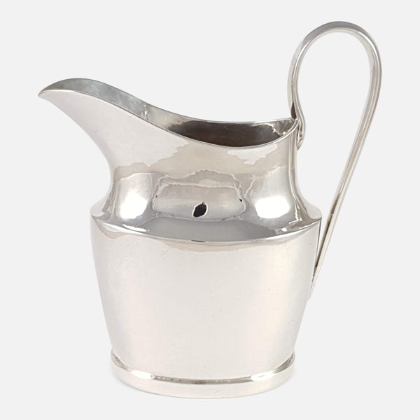 Portuguese Silver Cream Jug Circa 1800s viewed from the right side