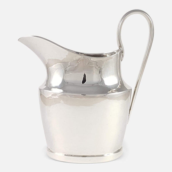 Portuguese Silver Cream Jug Circa 1800 viewed from the right side