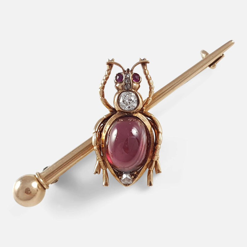 Russian 14ct Gold Diamond Garnet Cabochon Insect Brooch - Argentum Antiques & Collectables