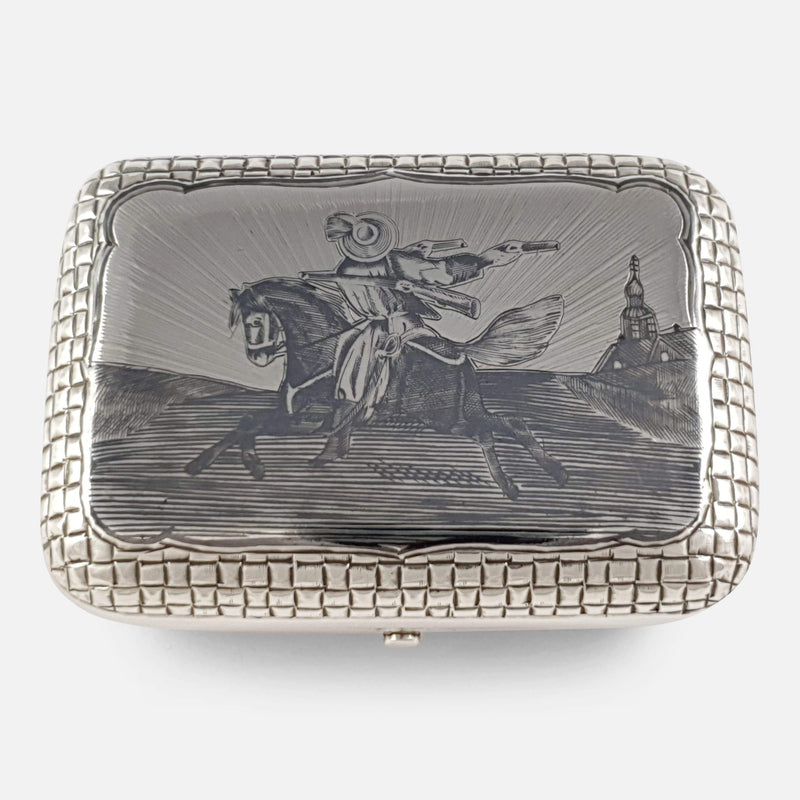the Russian silver and niello cigarette box viewed from above
